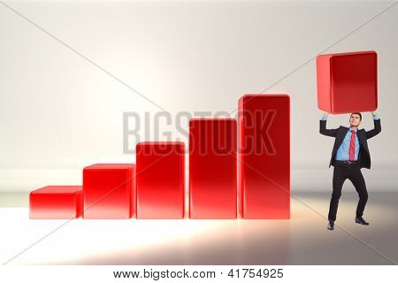 business man pushing the growth bar up on a 3d graph