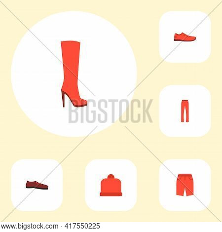 Set Of Clothes Icons Flat Style Symbols With Trousers, Shoe, Heeled Shoe And Other Icons For Your We