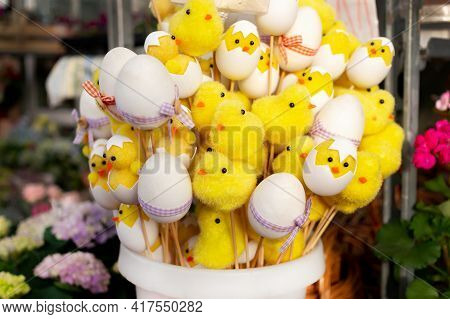 Easter, Yellow Chickens And Eggs Decoration. Chicken