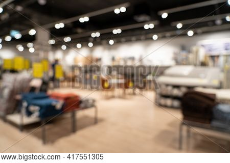 Abstract Blur Background Furniture Store On Sale