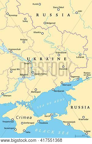 Eastern Ukraine Political Map. The Crimea, A Peninsula On The Coast Of Black Sea, And The Donbass, F