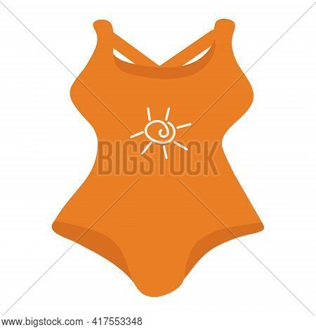 Orange Swimsuit With A White Sun Pattern On A White Background