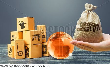 Money Bag, Orange Glass Earth Globe And Boxes. International World Trade Distribution. Delivery Of G