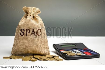 Money Bag With The Word Spac - Special Purpose Acquisition Company. Simplified Listing Of Company, M