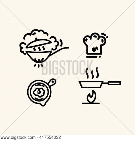 Set Of Linear Icons For Frying Pans And Kitchen Accessories. The Concept Of Cooking Items. Wok Grill