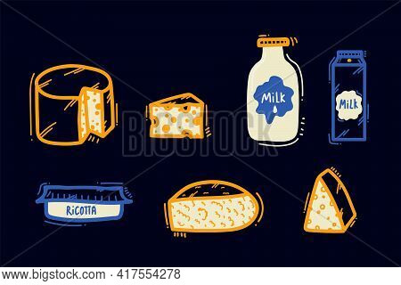 A Set Of Illustrations Of Dairy Products. Cheeses, Maasdam, Curd Cheese, Cream Cheese, Milk, Milk Bo