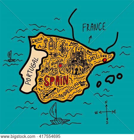 Spain Sightseeing Map Of Europe. Beautiful Map With Landmarks For Travel, Tourist Trips. Poster Maps