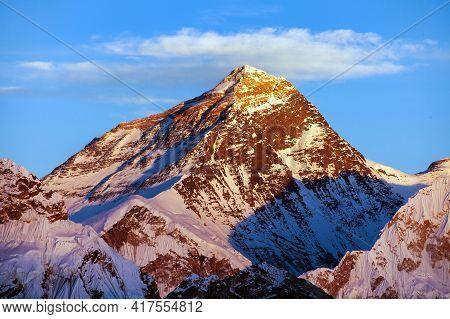 Evening Sunset Colored View Of Mount Everest From Gokyo Ri, Khumbu Valley, Solukhumbu, Sagarmatha Na
