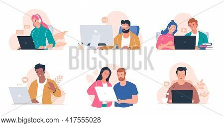 People Working At The Computer. Men And Women With Laptop - Freelance, Online Training, Email Checki