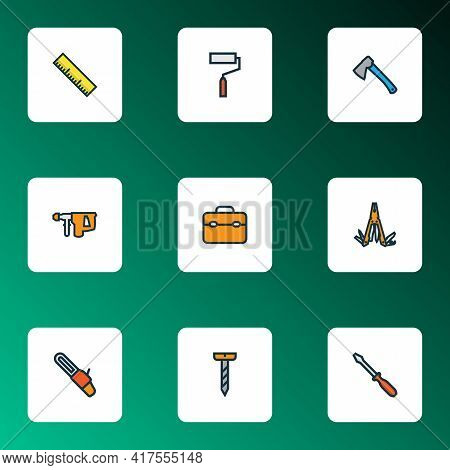 Handtools Icons Colored Line Set With Toolbox, Hatchet, Electric Hammer And Other Wall Painting Elem
