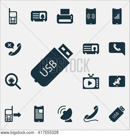 Communication Icons Set With Mobile Notification, Article On Phone, Male Card And Other Telephone El