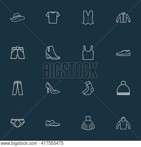 Garment Icons Line Style Set With Beanie, Panties, Evening Gown And Other Shoe Elements. Isolated Ve