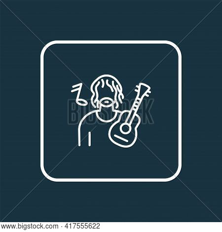 Musician Icon Line Symbol. Premium Quality Isolated Guitarist Element In Trendy Style.
