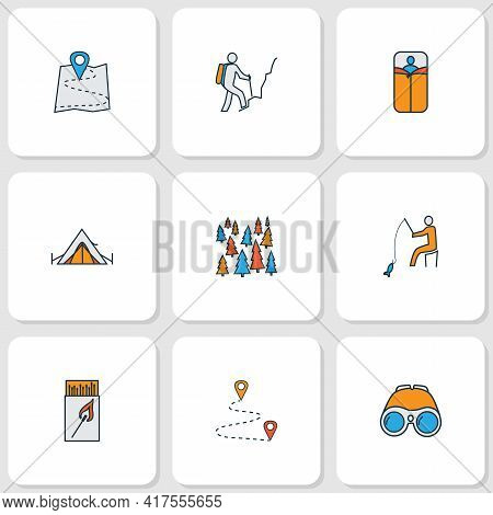 Tourism Icons Colored Line Set With Hiking Man, Map, Sleeping Bag And Other Tree Elements. Isolated