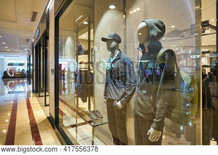 KUALA LUMPUR, MALAYSIA - CIRCA JANUARY, 2020: Hugo Boss storefront at Suria KLCC shopping mall in Kuala Lumpur.
