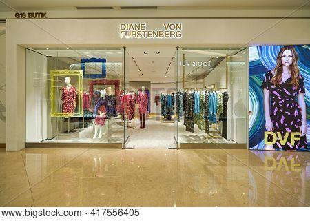 KUALA LUMPUR, MALAYSIA - CIRCA JANUARY, 2020: entrance to Diane von Furstenberg store at Suria KLCC shopping mall in Kuala Lumpur.