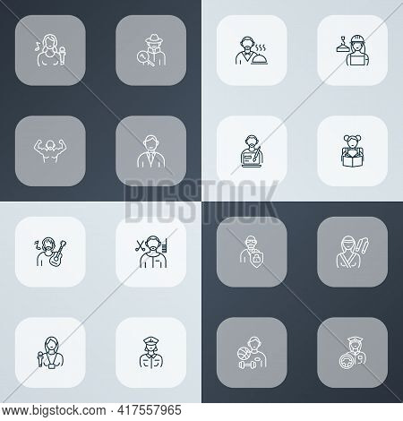 Profession Icons Line Style Set With Karate Woman, Interview, Builder Woman And Other Worker Element