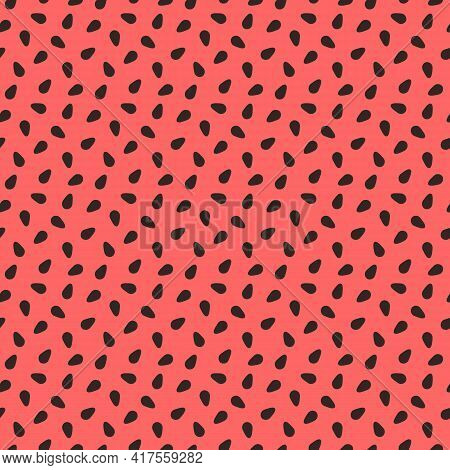 Watermelon Texture. Seamless Pattern With Black Seeds On Red Background. Fresh Fruit, Bright Summer