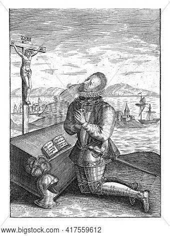 Alexander Farnese, Duke of Parma, kneeling in prayer before a crucifix, 1592, vintage engraving.