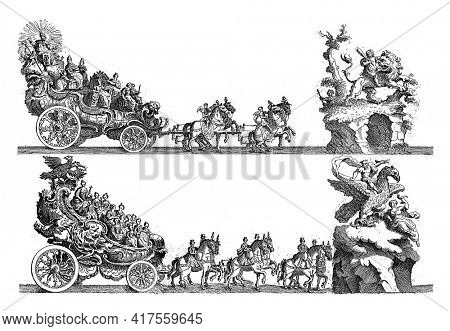 Sheet D: sixth and seventh float, vintage engraving.