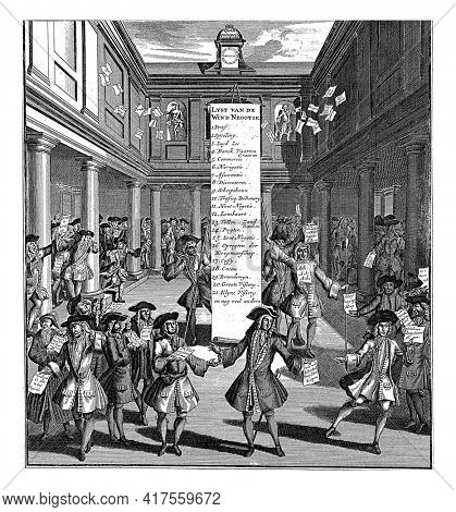 Desperate traders, victims of the wind trade, in the courtyard of the Amsterdam stock exchange, vintage engraving.