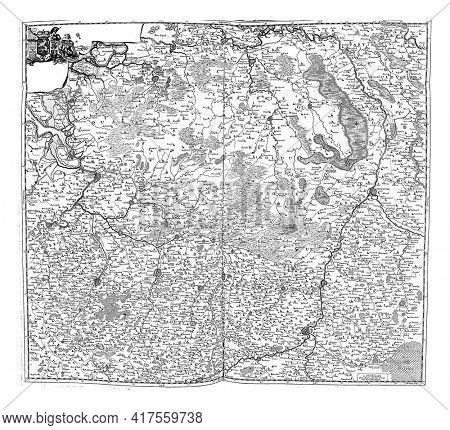Map of Brabant and Limburg, vintage engraving.