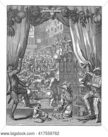 The harlequin Bombario and a fool lift a curtain, revealing the action trade at the Quincampoix coffeehouse, vintage engraving.