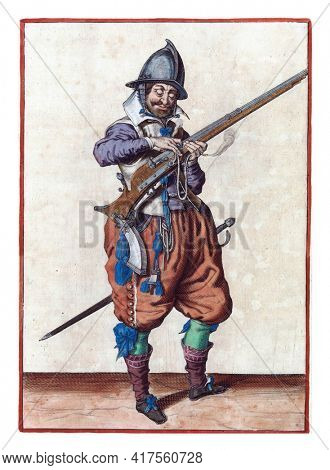 A soldier on guard, full-length, to the right, holding a rudder  with his left hand. With his right hand he presses a burning fuse on the cock of his rudder