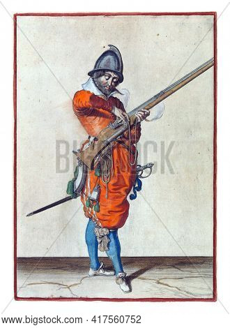 A full-length soldier holding a spear (lance) with both hands upright high above the ground. This is the second operation for raising the skewer upright