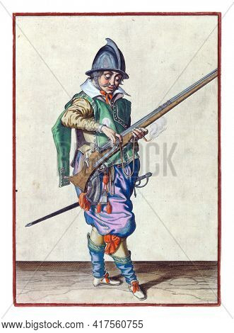 A soldier, full-length, to the right, holding a rudder (a type of firearm) with his left hand. With his right hand he presses a burning fuse on the cock (part of the ignition mechanism) of his rudder