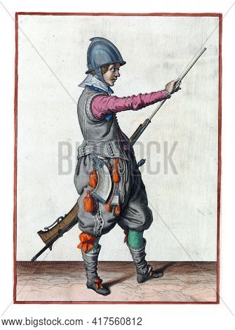 A soldier, full-length, to the right, holding a rudder (a type of firearm) with his left hand by his left thigh and pulling his ramrod out of the barrel with his right hand