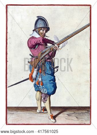 A soldier, full-length, to the right, holding a rudder (a type of firearm) with his left hand. He transfers the burning fuse in his right hand to his left