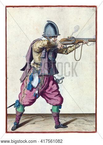 A soldier, full-length, to the right, holding a rudder (a type of firearm) horizontal with both hands, aiming and firing