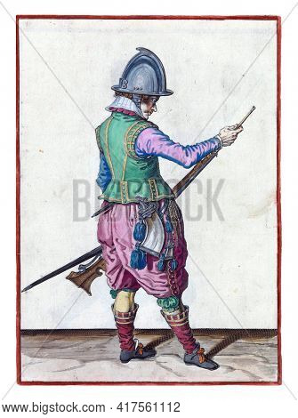 A soldier, full-length, to the right, holding a rudder (a certain type of firearm) by his left thigh with his left hand and his ramrod in the barrel with his right hand to push powder and bullet