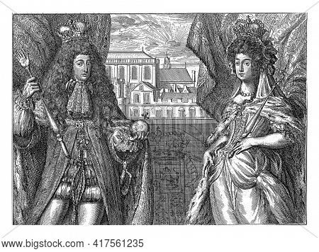 Portraits of King William III and Queen Mary II Stuart, standing with crowns, insignia and in full regalia, in front of a balustrade.