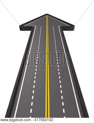 direction of road on white background. Isolated 3D illustration