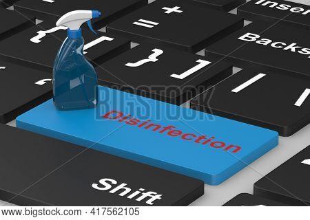 disinfectant spray on keyboard. 3d illustration