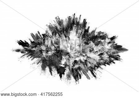 Particles Of Charcoal On White Background,abstract Powder Splatted On White Background,freeze Motion
