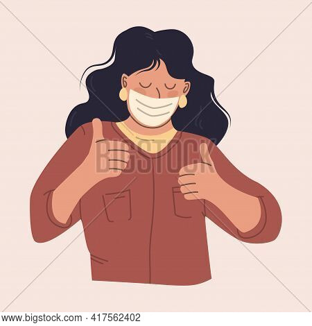 Young Woman In A Protective Mask. Happy Girl Is Using A Medical Facial Mask. Illustration In Pastel