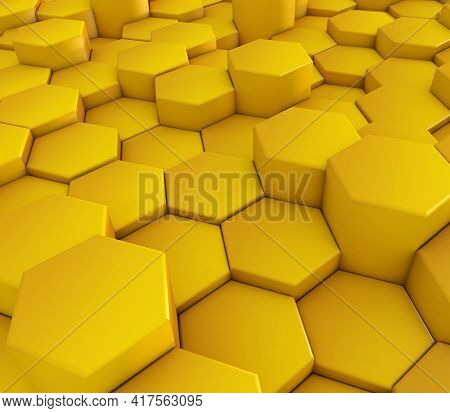 3D render of an abstract background with hexagonal shapes