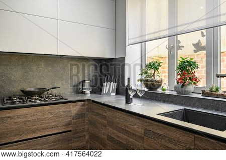 Modern large luxurious dark brown, gray and black cozy kitchen interior