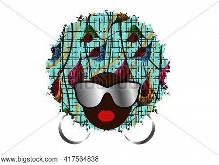 Portrait African Woman In Ethnic Colorful Turban Wear Fashion Sunglasses, Dark Skin Female Face, Tra