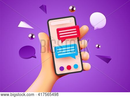Cute Hand Holding Phone With Short Messages. Chatting With Friends And Sending Messages. Colorful Sp