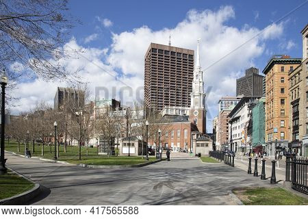 Boston, Ma - April 8 2021: Downtown Boston With Church And Surrounding Office And Apartment Building