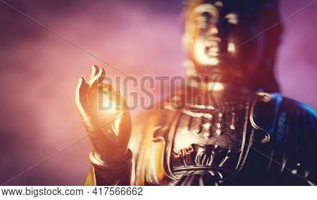 Buddha statue, zen meditation in yoga and spiritual peace. Traditional symbol