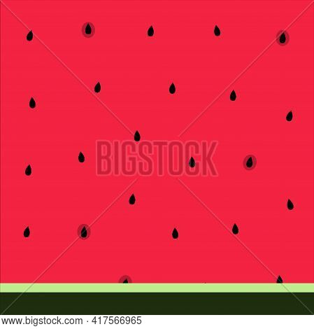 Watermelon Pulp Pattern Vector Illustration In Flat Design Close Up Image Of Red Watermelon With Bla
