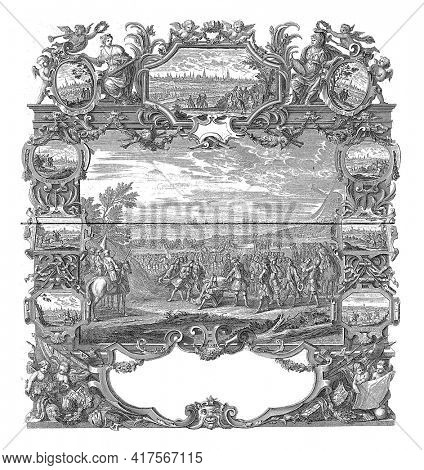 Surrender of the Flemish cities, 1706, vintage engraving.