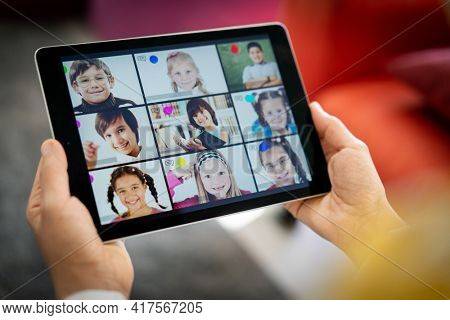Distance learning school children online on the screen