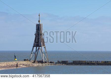 Kugelbake beacon, landmark of the city of Cuxhaven on Elbe river estuary,