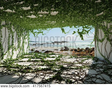 House with sea views, green plants on walls and ceiling, conceptual art, 3D illustration, rendering.